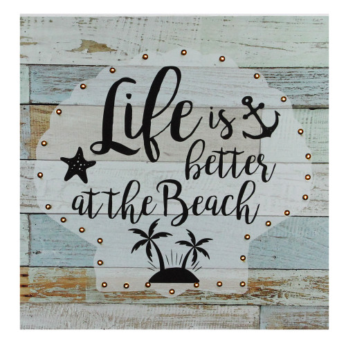 """Battery Operated LED Lighted Beach Wall Art Plaque 12"""" x 12"""" - IMAGE 1"""