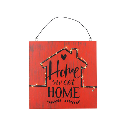 """8"""" Battery Operated LED Lighted Red Rustic """"Home Sweet Home"""" Wall Sign - IMAGE 1"""