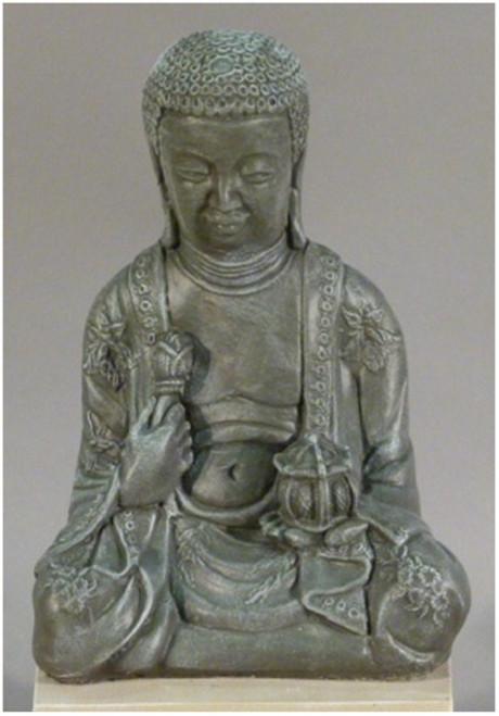 """20"""" Saddle Stone Finished Large Meditating Buddha Outdoor Garden Statue - IMAGE 1"""