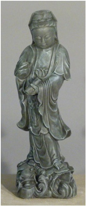 """25"""" Saddle Stone Finished Asian Woman Outdoor Garden Statue - IMAGE 1"""