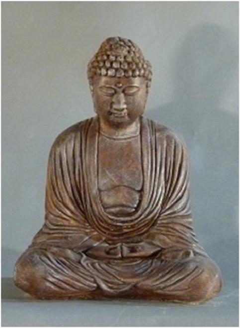 "15"" Cedar Finished Meditating Buddha Outdoor Garden Statue - IMAGE 1"