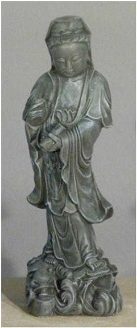 """25"""" Teal Finished Asian Woman Outdoor Garden Statue - IMAGE 1"""