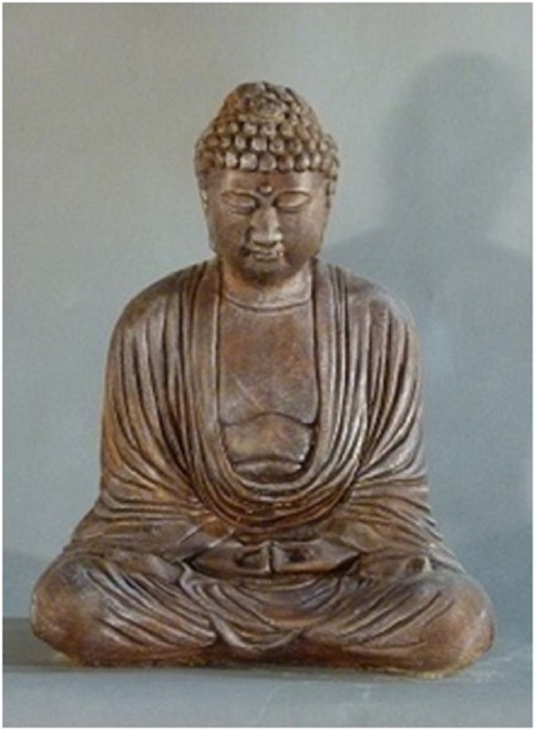 "15"" Rust Finished Meditating Buddha Outdoor Garden Statue - IMAGE 1"