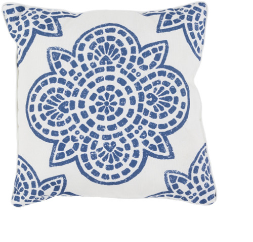 """20"""" Blue and White Contemporary Digitally Printed Square Outdoor Throw Pillow - IMAGE 1"""