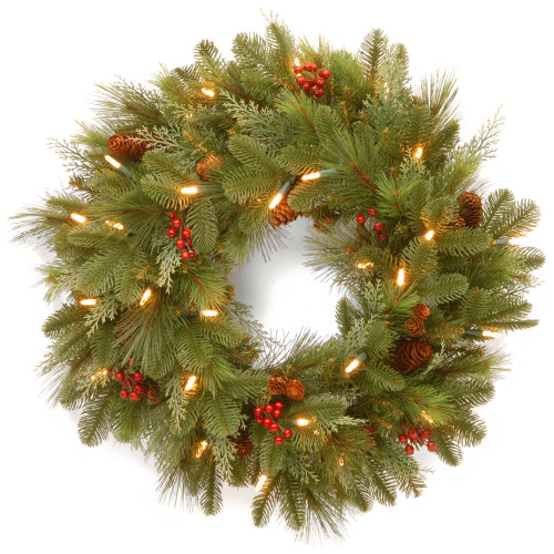 Pre-Lit Noelle Artificial Christmas Wreath - 24-Inch, Soft White LED Battery Operated Lights - IMAGE 1