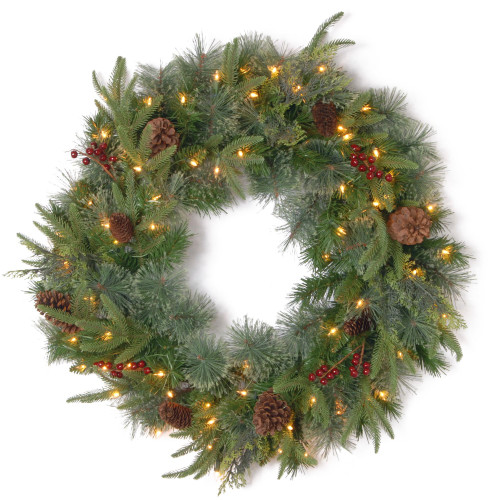 Pre-Lit Colonial Artificial Christmas Wreath - 30-Inch, Clear Lights - IMAGE 1