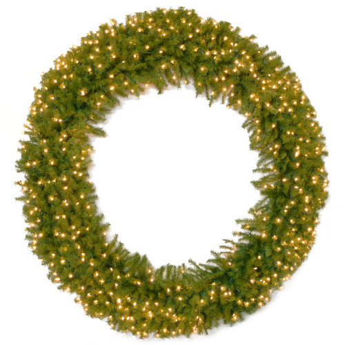 Pre-Lit Norwood Fir Artificial Christmas Wreath - 72-Inch, Clear Lights - IMAGE 1