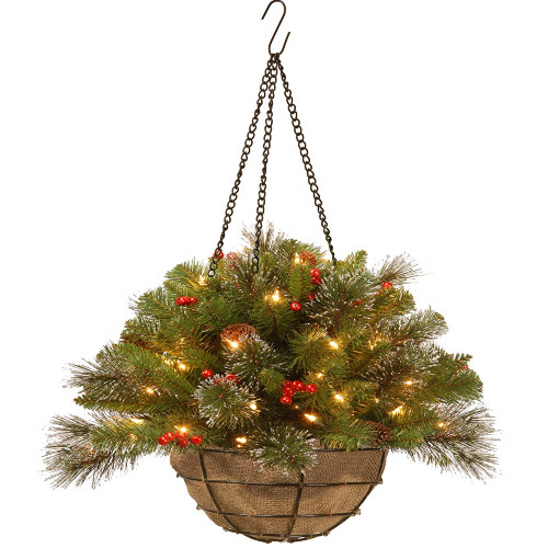 "20"" Pre-Lit Artificial Pine Christmas Hanging Basket with Berries - Warm White LED Lights/BO - IMAGE 1"