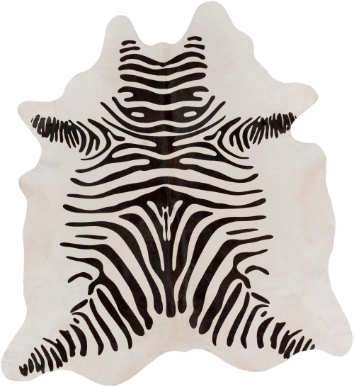 8' Ivory and Black Animal Print Hand Crafted Indoor Area Throw Rug - IMAGE 1