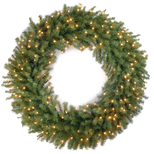 Pre-Lit Norwood Fir Artificial Christmas Wreath - 48-Inch, Clear Lights - IMAGE 1