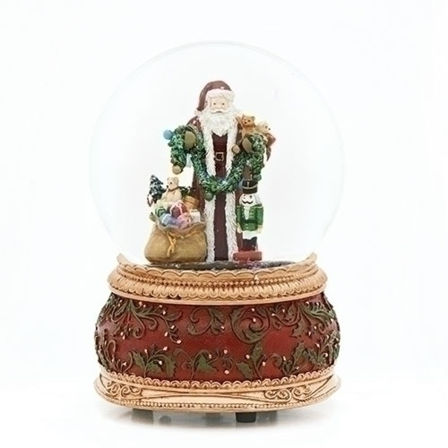 "Pack of 2 Gold and Red Christmas Musical Dome Decorative Santa with Toys 6"" - IMAGE 1"