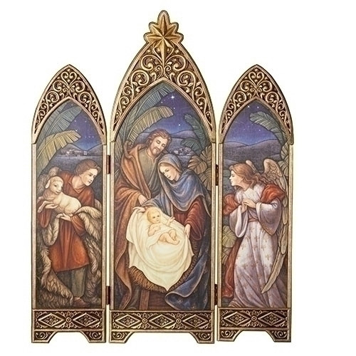 """36.25"""" Bronze Colored Antique Styled Nativity Themed Triptych with Star - IMAGE 1"""