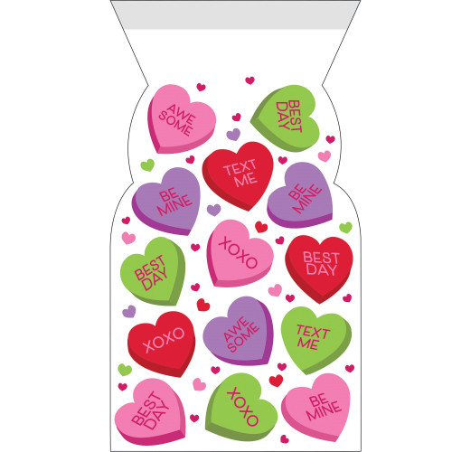 """Club of 144 Red and Green Valentines Decor Printed Cello Bag with Zipper 13"""" - IMAGE 1"""