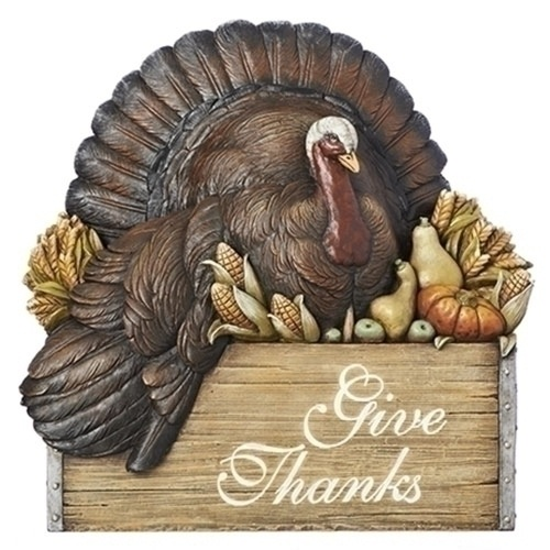 """12"""" Brown and Black Harvest Themed Turkey in Crate Table Top Piece - IMAGE 1"""