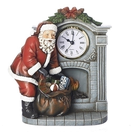 "Pack of 2 Traditional Style Santa Claus in Fireplace with Clock Table Top Decor 8"" - IMAGE 1"