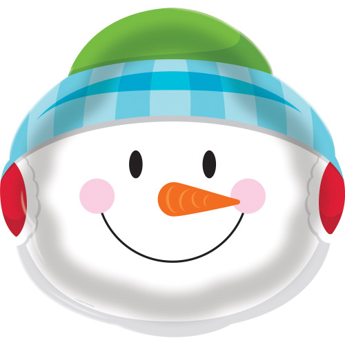 "Pack of 12 Multicolored Snowman Face Printed Disposable Plastic Tray 14"" - IMAGE 1"