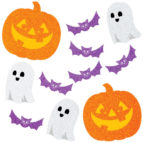 """Club Pack of 144 Orange and White Glitter Halloween Party Fun Photo Props 8"""" - IMAGE 1"""