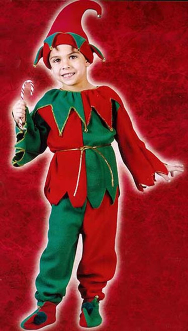 Red and Green Elf Plush Unisex Child Christmas Costume - Small - IMAGE 1