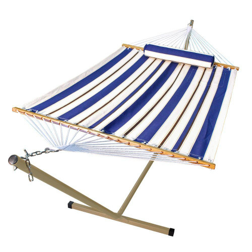"""144"""" Blue Striped Outdoor swing Hammock Chair With Pillow and Stand - IMAGE 1"""