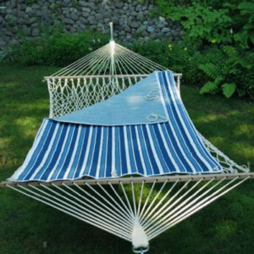 """82"""" Blue and White Striped Reversible Hammock Pad - IMAGE 1"""