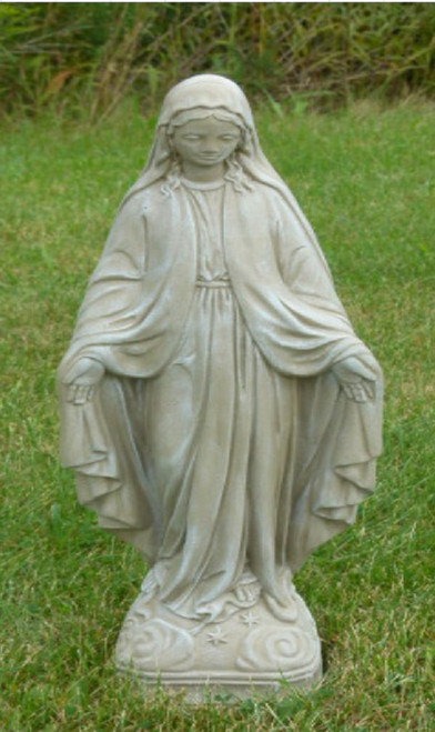 "25"" Antique Stone Virgin Mary Outdoor Patio Statue - IMAGE 1"