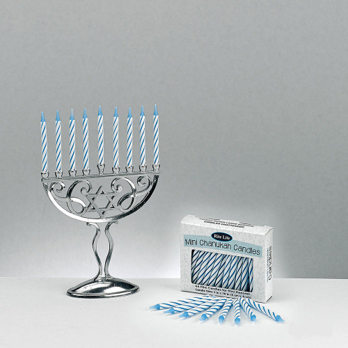 """45pc Silver and Blue Classic Style Mini Hanukkah Menorah Set with Candles 4.75"""" - IMAGE 1"""