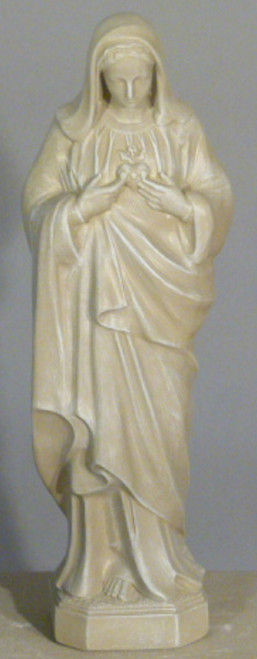 """25"""" Sacred Heart of Mary Outdoor Patio Statue - Marble Finish - IMAGE 1"""