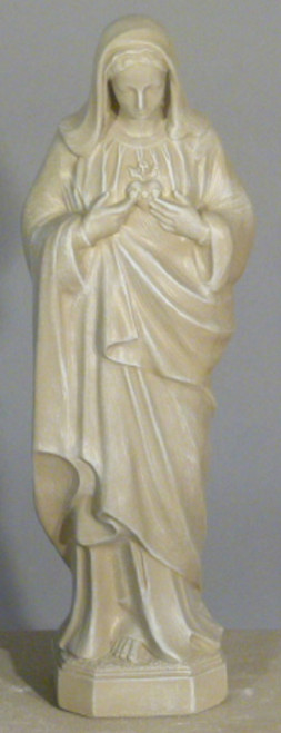 """25"""" Sacred Heart of Mary Outdoor Patio Statue - Limestone Finish - IMAGE 1"""