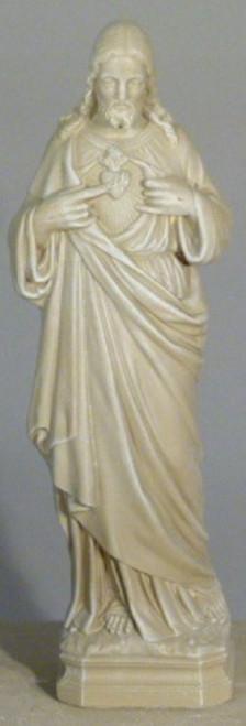 "25"" Mocha Finish Sacred Heart of Jesus Outdoor Patio Statue - IMAGE 1"