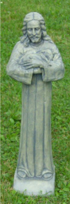 """25"""" Antique Stone Finish Jesus with a Lamb Outdoor Patio Statue - IMAGE 1"""