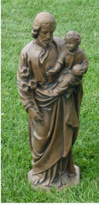 """25""""Antique Stone St. Joseph Outdoor Patio Statue - IMAGE 1"""