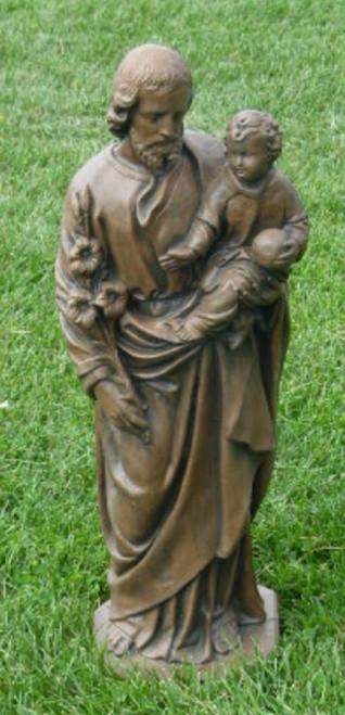 """25"""" St. Joseph Outdoor Patio Statue - Cedar Finish - IMAGE 1"""