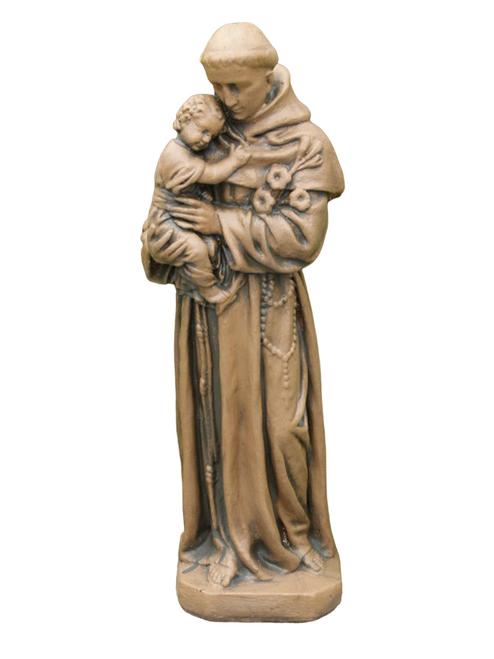 """25"""" Saddle Stone Finished St ANTHONY Outdoor Statue Decoration - IMAGE 1"""