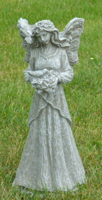 18'' Taupe Finish Fairy with Dove Outdoor Patio Statue - IMAGE 1