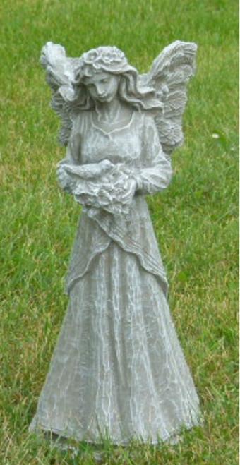 25'' Limestone Finish Fairy with Dove Outdoor Patio Statue - IMAGE 1