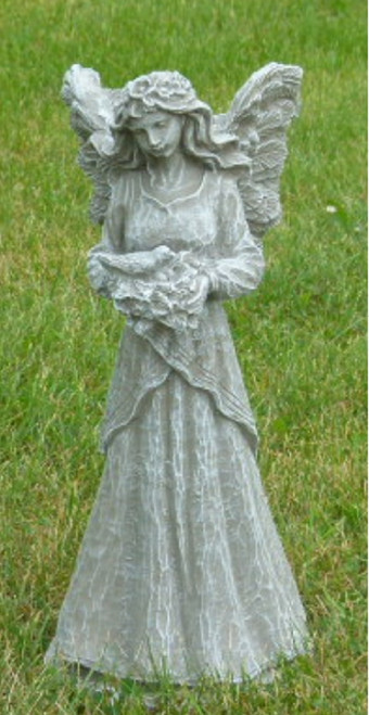 18'' Antique Stone Finish Fairy with Dove Outdoor Patio Statue - IMAGE 1