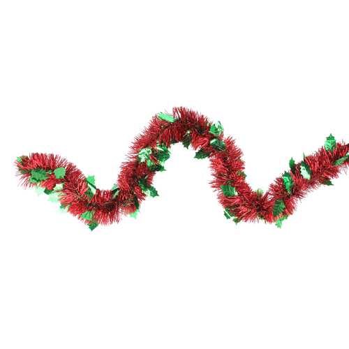 12' Shiny Red Christmas Tinsel Garland with Green Holly Leaves - Unlit - IMAGE 1
