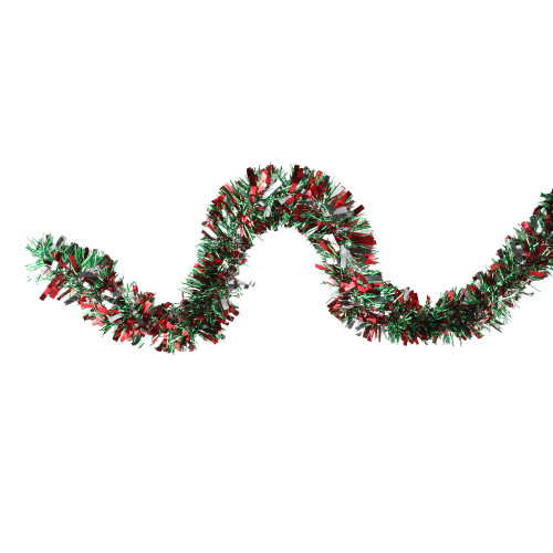 12' Shiny Red and Silver Christmas Tinsel Garland - Unlit - IMAGE 1