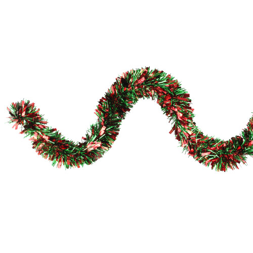 12' Red and Green Wide Cut Christmas Tinsel Garland - Unlit - IMAGE 1