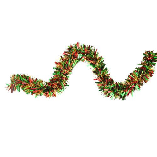 12' Green, Red and Metallic Gold Wide Cut Christmas Tinsel Garland - IMAGE 1