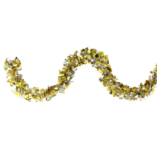 12' Gold and Silver Boa Wide Cut Christmas Tinsel Garland - Unlit - IMAGE 1