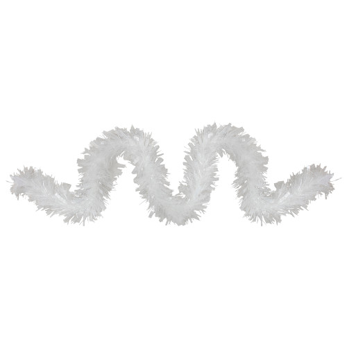 12ft Clear and White Snowblush Artificial Tinsel Christmas Garland - Unlit - IMAGE 1