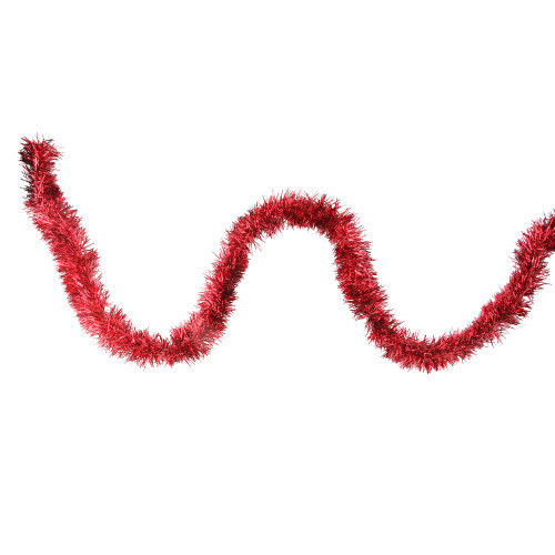 12' Traditional Red Christmas Tinsel Garland - Unlit - IMAGE 1
