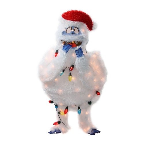 """32"""" White and Blue Lighted Bumble Outdoor Christmas Decor - IMAGE 1"""