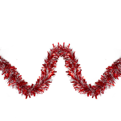 Red and Silver Wide Cut Christmas Tinsel Garland - 12 feet, Unlit - IMAGE 1
