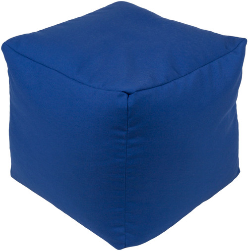 "18"" Dark Blue Hand Woven Squire Outdoor Ottoman Pouf with Knife Edge - IMAGE 1"