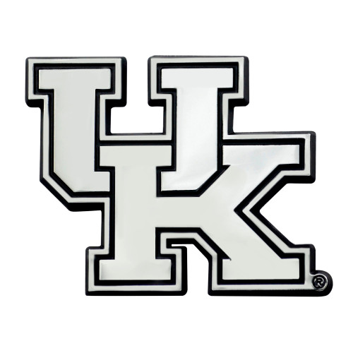 """Set of 2 White and Black NCAA University of Kentucky Wildcats Automotive Stick-On Car Decals 2"""" x 3"""" - IMAGE 1"""