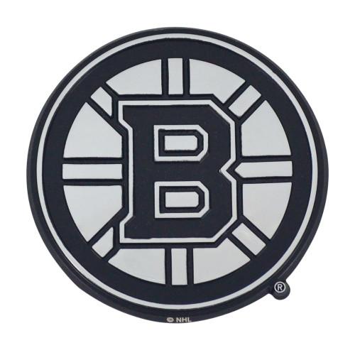 "Set of 2 Black and White NHL Boston Bruins Emblem Automotive Stick-On Car Decals 3"" x 3"" - IMAGE 1"