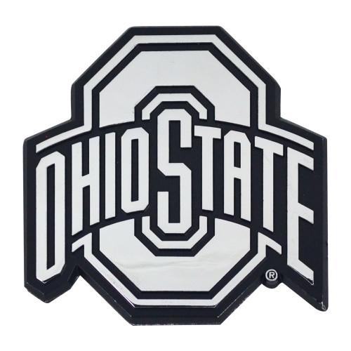 """Set of 2 White NCAA Ohio State University Buckeyes Emblem Automotive Stick-On Car Decals 3"""" x 3"""" - IMAGE 1"""