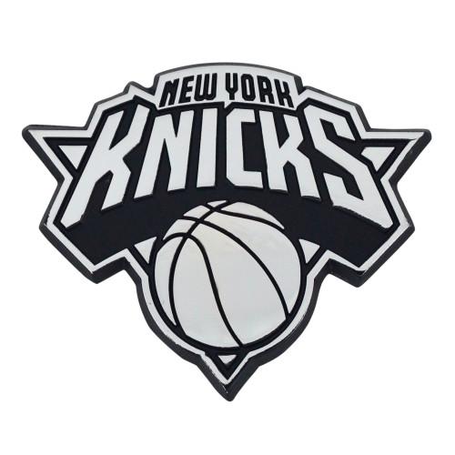 "Set of 2 White and Black NBA New York Knicks Emblem Automotive Stick-On Car Decals 2.5"" x 3"" - IMAGE 1"